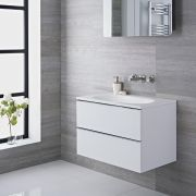 Mueble de Lavabo Suspendido con Acabado Color Blanco Lacado 750x480x520mm con Lavabo Integrado - Ranwick