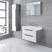 Mueble de Lavabo con Acabado Color Blanco Lacado 800x500x600mm con Lavabo Integrado - Newport