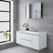 Mueble de Lavabo Suspendido con Acabado Color Blanco Lacado 1200x480x520mm con Lavabo Integrado - Ranwick