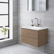 Mueble de Lavabo Suspendido con Acabado Efecto Color Roble 475x480x520mm con Lavabo Integrado - Randwick
