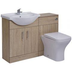 Mueble de Lavabo de 2 Puertas Efecto Roble con Inodoro Integrado 65x78x30cm