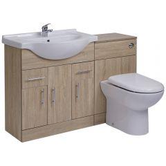 Mueble de Lavabo de 3 Puertas y 2 Cajones Efecto Roble con Inodoro Integrado 75x78x48cm