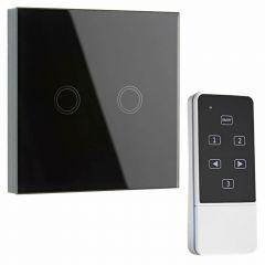 Interruptor de Diseño de Pared Doble Negro con Mando de Control