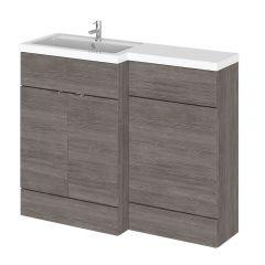 Mueble de Lavabo y WC Gris Marrón de 1100mm Versión Izquierda