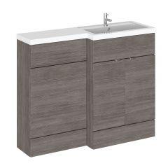Mueble de Lavabo y WC Gris Marrón de 1100mm Versión Derecha
