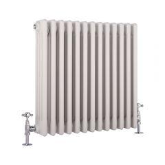 Radiador de Diseño Horizontal Cuádruple Tradicional - Blanco - 600mm x 585mm x 133mm - 1234 Vatios - Regent