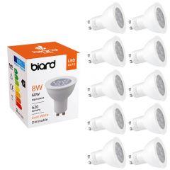 10 Focos Spot LED GU10 de Techo 8W con Intensidad Luminosa Regulable