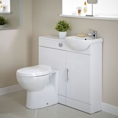 Mueble de Lavabo con Inodoro Integrado Blanco
