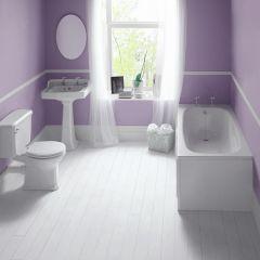Conjunto de Cuarto de Baño Tradicional Completo con Bañera, Lavabo, WC y Grifería