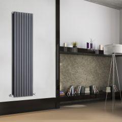 Radiador de Diseño Vertical Doble - Antracita - 1600mm x 472mm x 72mm - 1590 Vatios - Sloane