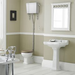 Conjunto de Baño Completo con Inodoro WC con Tapa Cisterna Alta Suspendida y Lavabo de 560mm - Retro