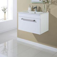 Mueble de Lavabo Suspendido en Blanco Lacado 605mm x 409mm con Un Cajón