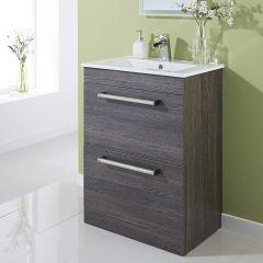 mueble de lavabo marrn negro a suelo de mm x mm con dos cajones
