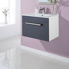 mueble de lavabo suspendido en gris lacado mm x mm con un cajn