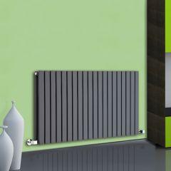Radiador de Diseño Horizontal Doble - Antracita - 635mm x 1180mm x 72mm - 1867 Vatios - Sloane