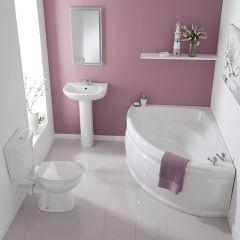 Conjunto de Cuarto de Baño Tradicional Completo con Bañera de Esquina, Lavabo, WC