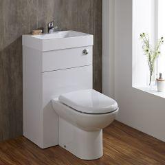 Conjunto de Baño Blanco Completo con Inodoro en Cerámica y Lavabo en Resina