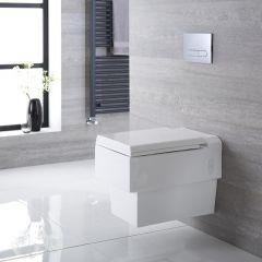 Inodoro WC Cuadrado Moderno Suspendido 580x390x495mm con Tapa de WC Soft Close - Haldon