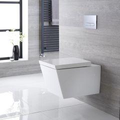 Inodoro WC Cuadrado Moderno Suspendido 595x405x465mm con Tapa de WC Soft Close  - Halwell