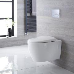Inodoro WC Oval Moderno Suspendido 610x420x480mm con Tapa de WC con Cierre Amortiguado - Kenton