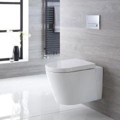 Inodoro WC Oval Suspendido 600x390x450mm con Tapa de WC Soft Close - Exton