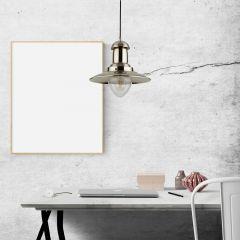 Lámpara de Techo Industrial Estilo Náutico de Hierro con Acabado Cromado - Brixham