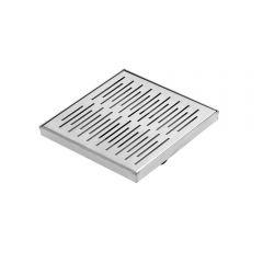 Sumidero de ducha cuadrado  de 200mm en acero inoxidable con rejilla