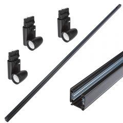 Kit con Carril de 2m para Sistemas de 3 Circuitos 3 Luminarias LED - Negro