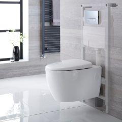 Inodoro Moderno Oval Suspendido con Tapa WC, Estructura Empotrable, Cisterna y Placa de Descarga – Kenton