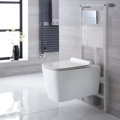 Inodoro Cuadrado Moderno Suspendido Completo con Tapa, Estructura Empotrable, Cisterna y Placa de Descarga - Sandford