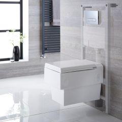 Inodoro Cuadradol Suspendido 410x340x440mm Completo con Tapa Soft Close, Estructura Empotrable, Cisterna y Placa de Descarga – Haldon