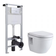 Inodoro Oval Suspendido 400x360x515mm con Tapa Soft Close, Estructura Empotrable, Cisterna y Placa de Descarga - Newby