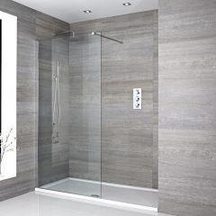 mampara de ducha con hoja fija de 1500x700mm con plato de ducha de 1500x700mm brazo - Duchas De Obra Fotos