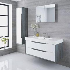 Mueble de Lavabo Suspendido con Acabado Color Blanco Lacado 1200x500x600mm con Lavabo Integrado - Newport
