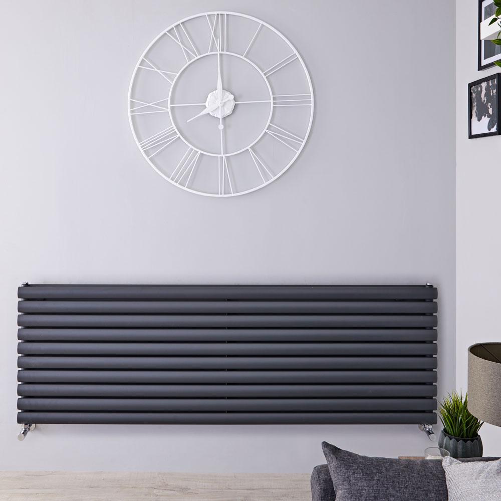 Radiador de Diseño Horizontal Doble - Antracita - 590mm x 1600mm x 78mm - 1881 Vatios - Revive