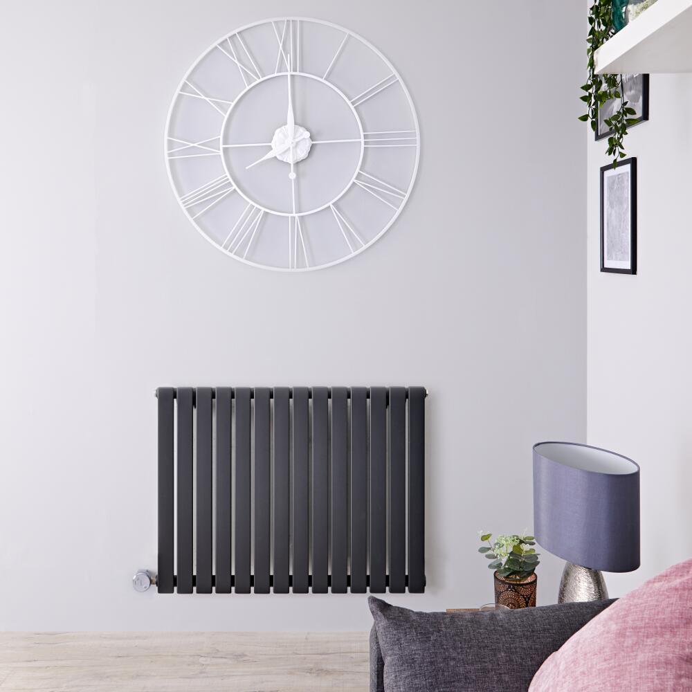 Radiador de Diseño Eléctrico Horizontal - Antracita - 635mm x 834mm x 54mm -  Elemento Termostático de 1000W  - Sloane