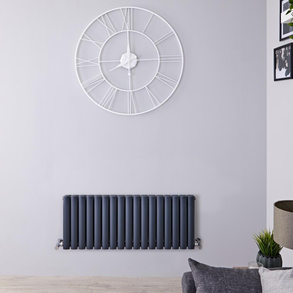 Radiador de Diseño Horizontal Doble - Antracita - 400mm x 1000mm x 78mm -1052 Vatios – Revive