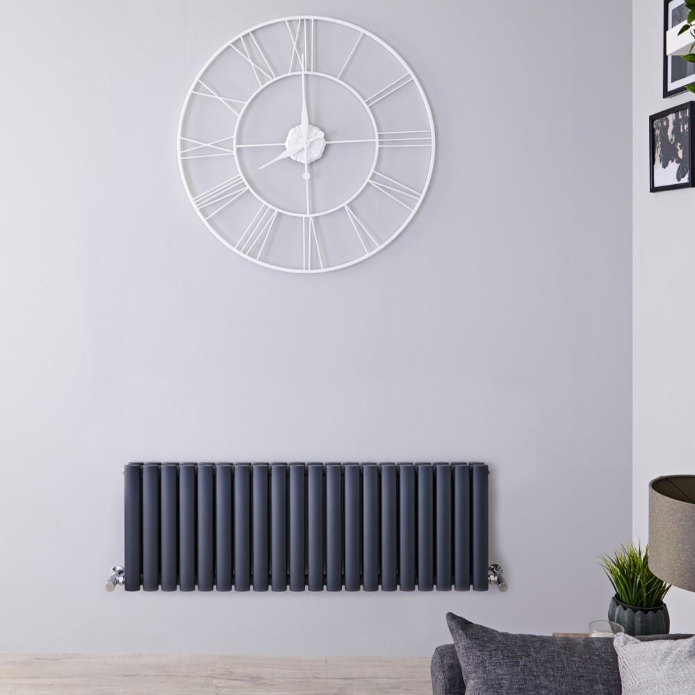 Radiador de Diseño Horizontal Doble - Antracita - 400mm x 1180mm x 78mm -1238 Vatios – Revive