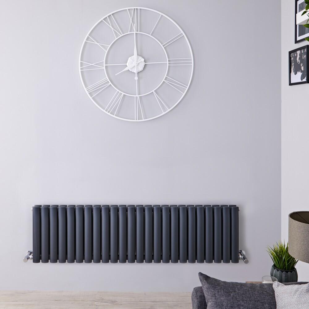 Radiador de Diseño Horizontal Doble - Antracita - 400mm x 1411mm x 78mm -1485 Vatios – Revive
