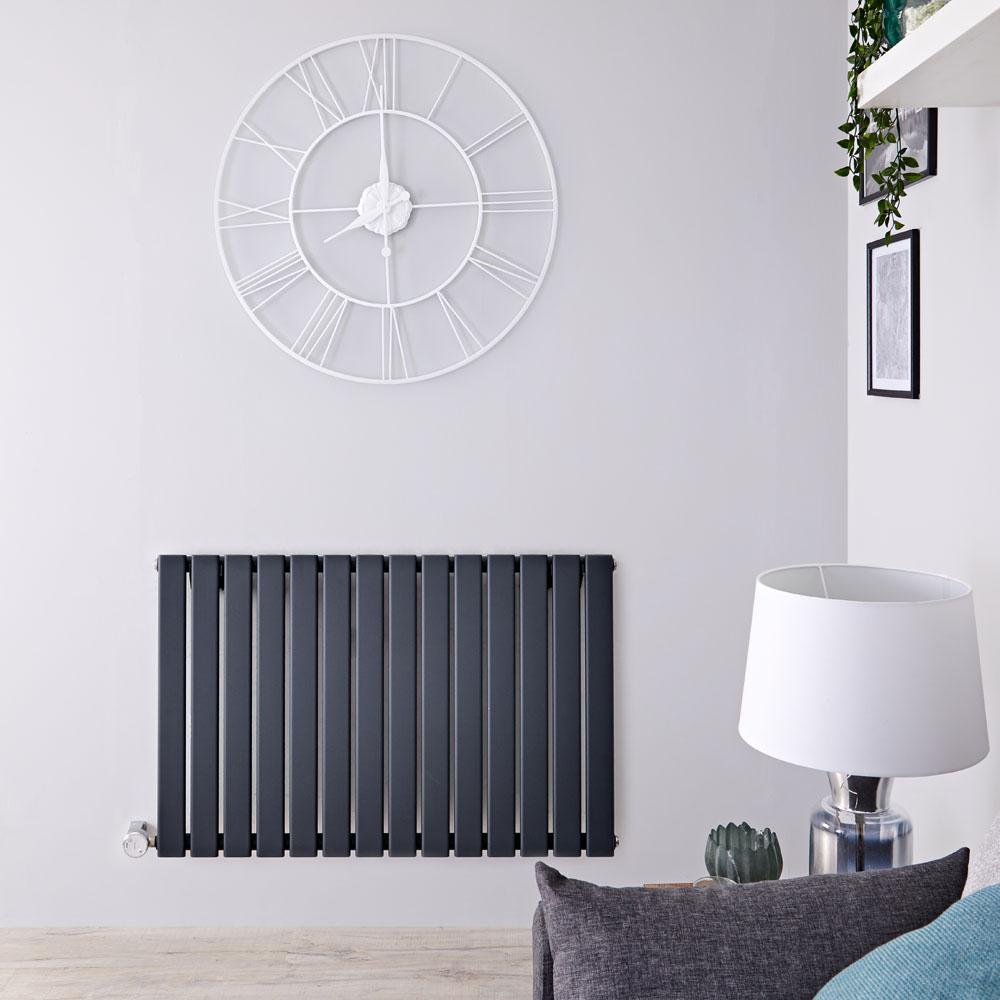 Radiador de Diseño Eléctrico Horizontal - Antracita - 635mm x 980mm x 46mm -  Elemento Termostático de 800W  - Delta