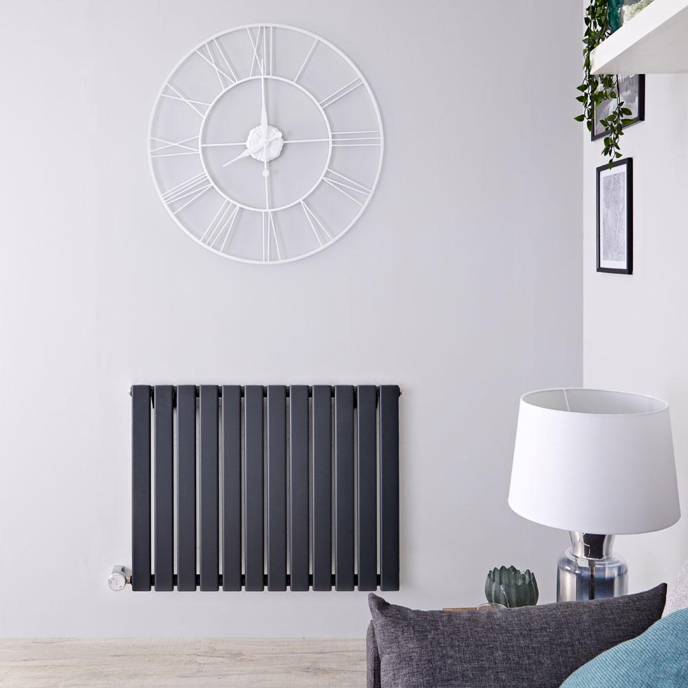 Radiador de Diseño Eléctrico Horizontal - Antracita - 635mm x 840mm x 46mm -  Elemento Termostático de 800W  - Delta