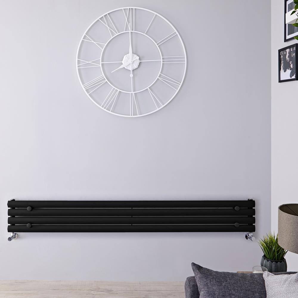 Radiador de Diseño Horizontal - Negro Mate - 236mm x 1600mm x 56mm - 517 Vatios - Revive