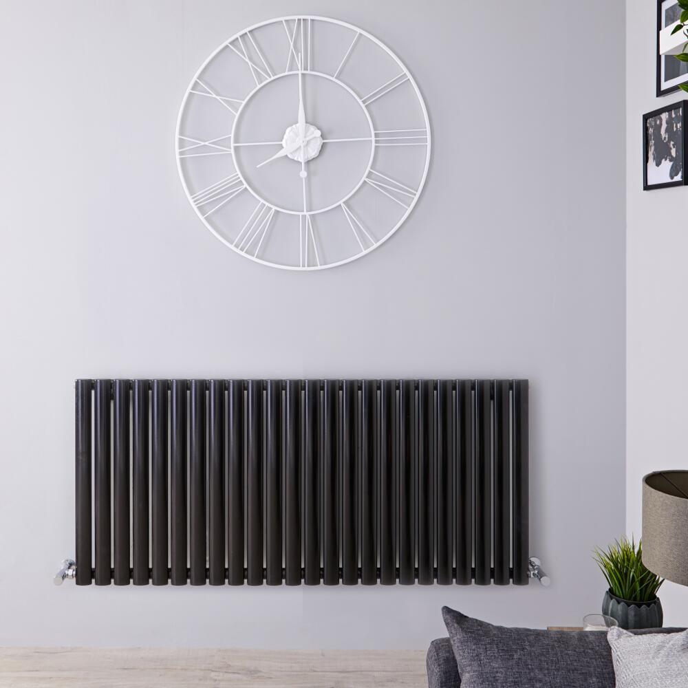 Radiador de Diseño Horizontal - Negro Lúcido - 635mm x 1411mm x 56mm - 1432 Vatios - Revive