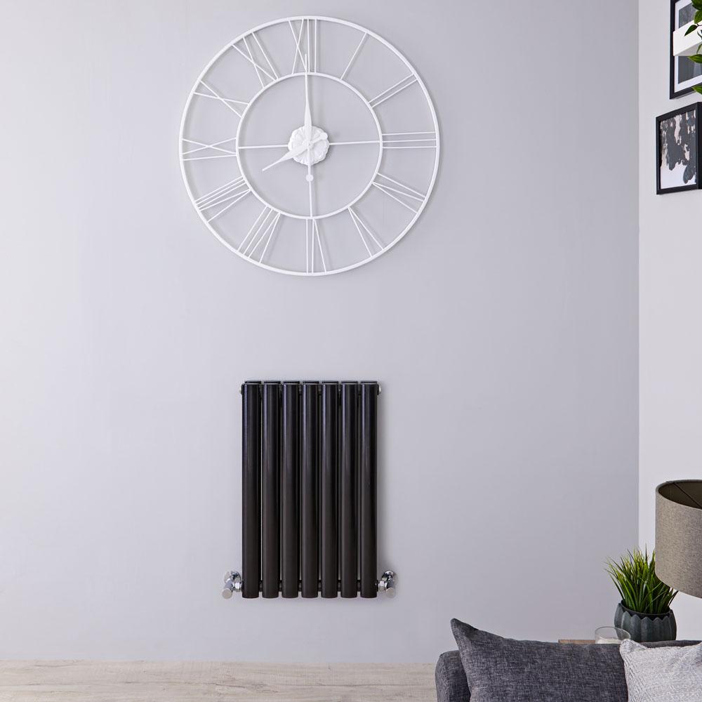 Radiador de Diseño Horizontal Doble - Negro Lúcido - 635mm x 415mm x 78mm - 652 Vatios - Revive
