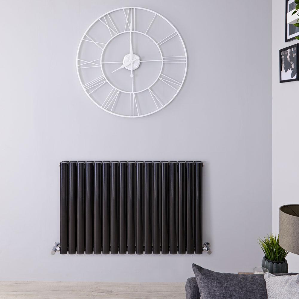 Radiador de Diseño Horizontal Doble - Negro Lúcido - 635mm x 1000mm x 78mm - 1583 Vatios - Revive