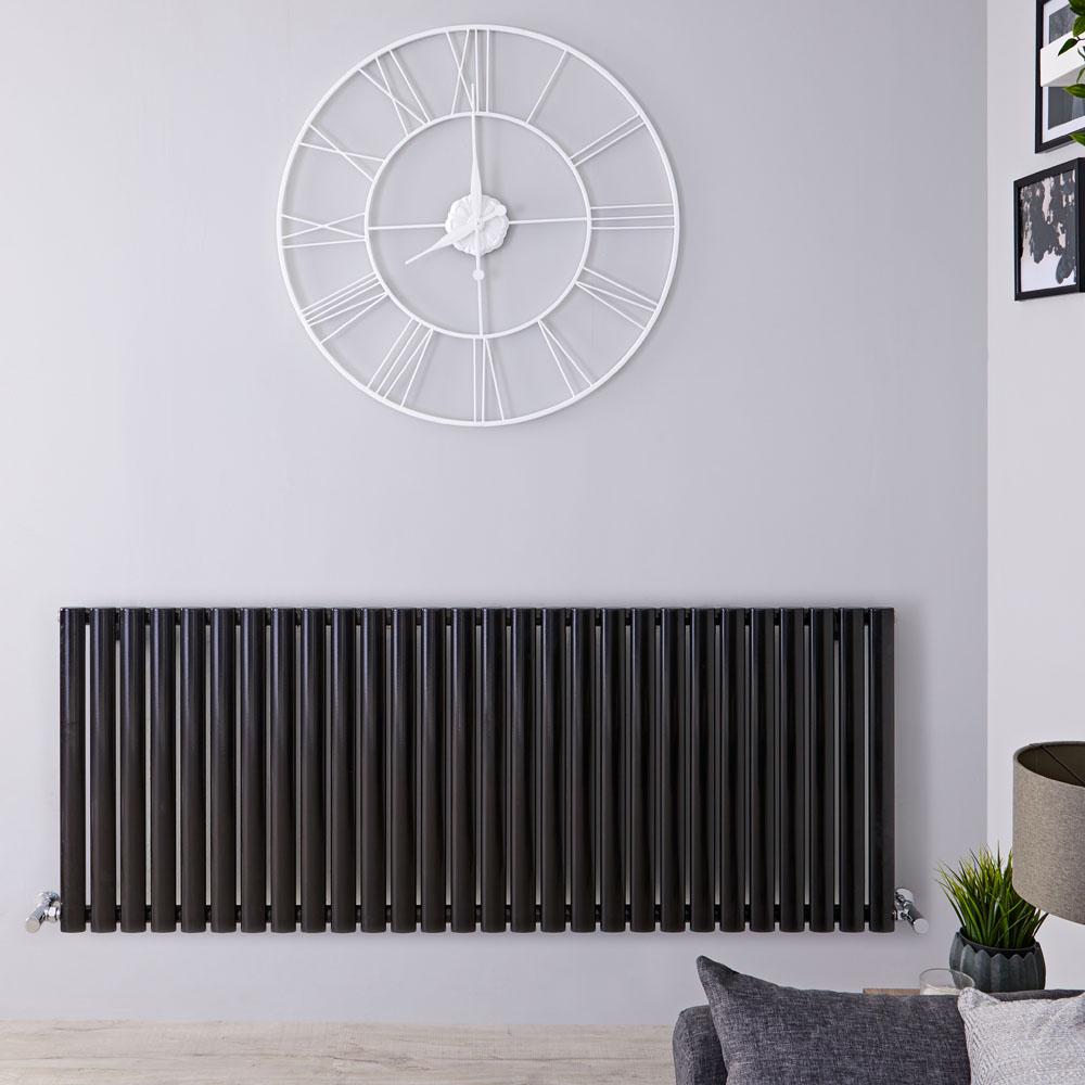 Radiador de Diseño Horizontal Doble - Negro Lúcido - 635mm x 1647mm x 78mm - 2608 Vatios - Revive