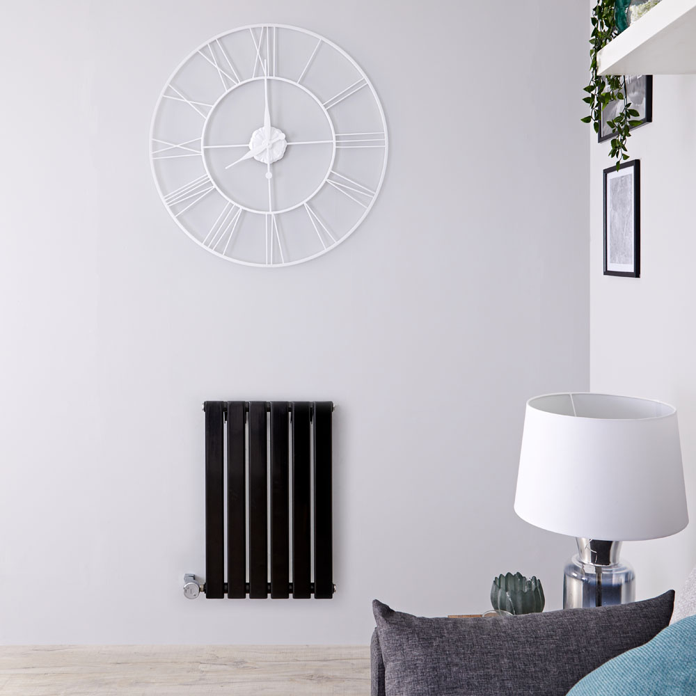 Radiador de Diseño Eléctrico Horizontal - Negro Lúcido - 635mm x 420mm x 46mm - Elemento Termostático de 400W - Delta