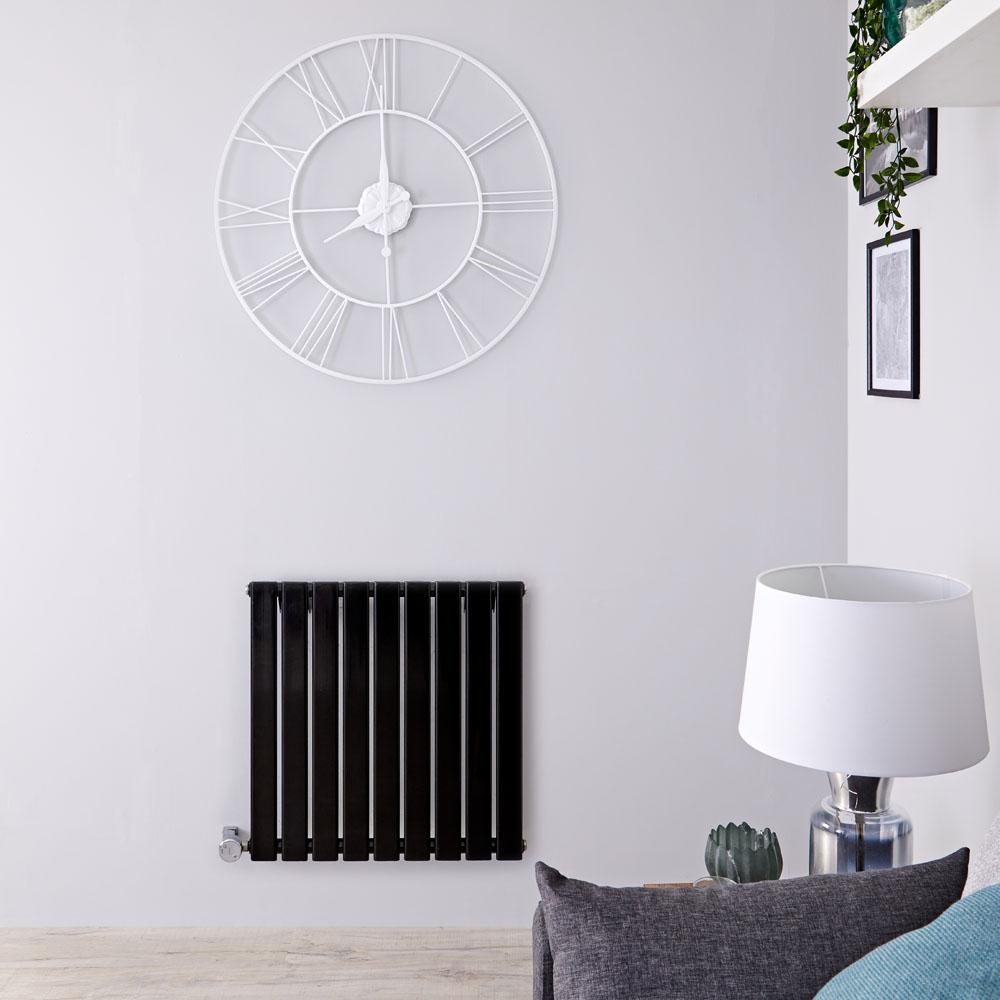 Radiador de Diseño Eléctrico Horizontal - Negro Lúcido - 635mm x 630mm x 46mm - Elemento Termostático de 600W - Delta