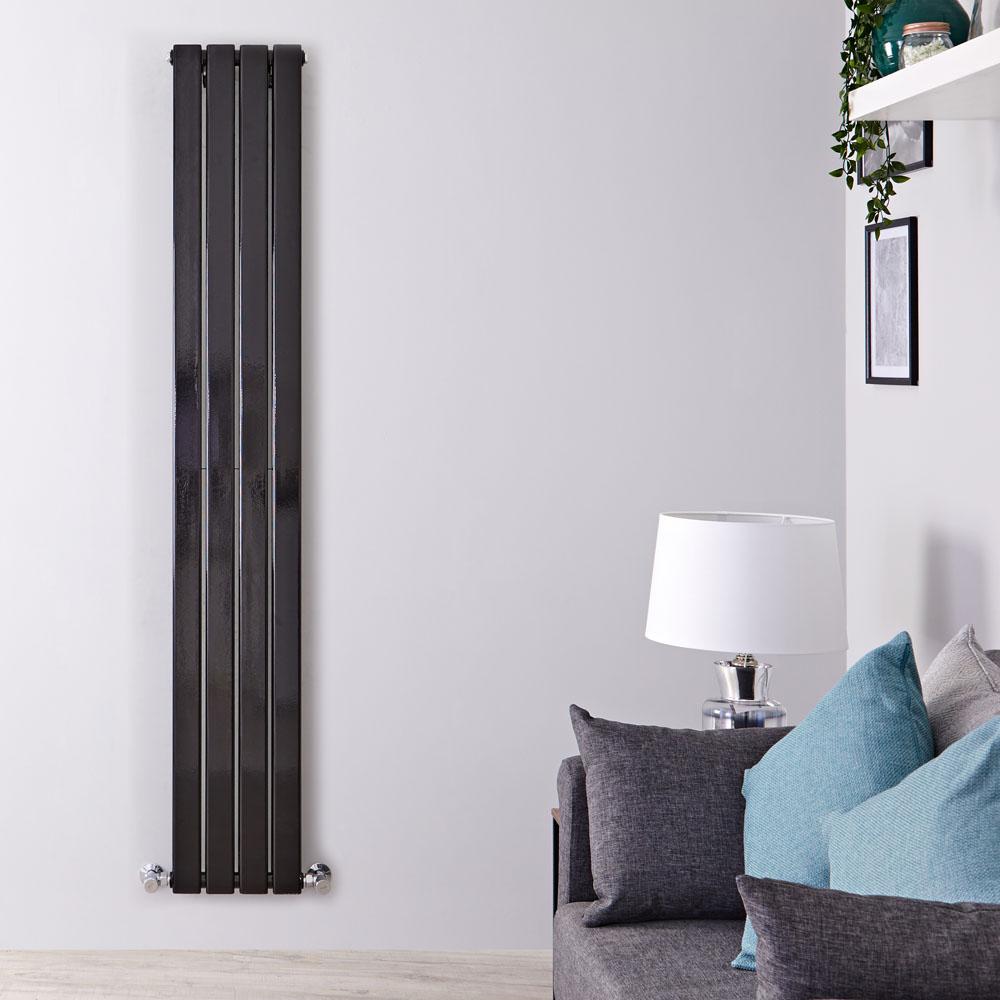 Radiador de Diseño Vertical Doble - Negro Lúcido - 1600mm x 280mm x 60mm - 881 Vatios - Delta