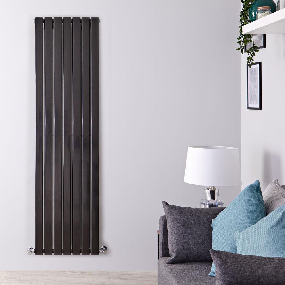 Radiador de Diseño Vertical Doble - Negro Lúcido - 1600mm x 490mm x 60mm - 1543 Vatios - Delta